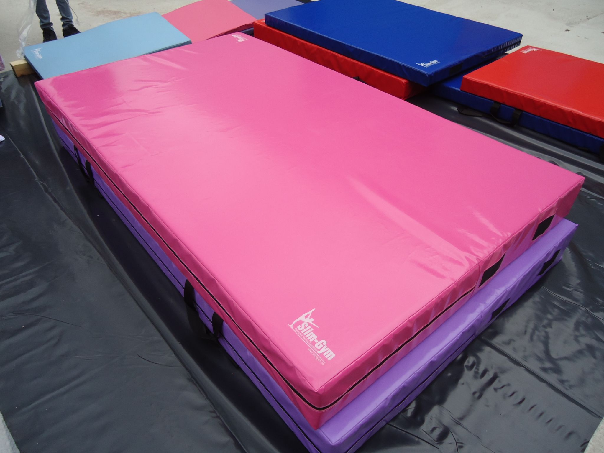 pink mat purple image gymnastics goods tumbling x pu leather sporting mats martial folding arts soozier